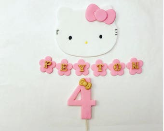 Pink and Gold bow Hello cat Face Fondant cake Topper Set