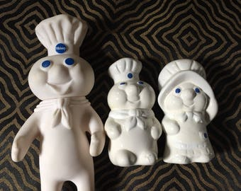Pillsbury Dough Boy Squeeze toyand Salt and Pepper Shakers