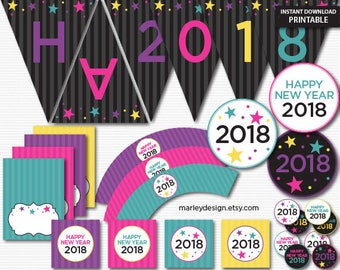New Years Party Decorations New Year's Eve Party Decor Party Printables Digital Download New Years Decorations Kids New Years Party Decor
