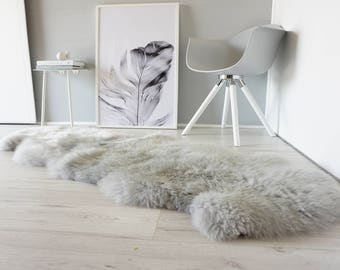 Genuine Double Natural Sheepskin Rug - Extremely soft wool - Dyed Grey | Silver | Ash | Tan Mix  - DN 33