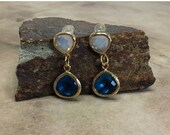 SPRING SALE Brilliant crystal earrings in capri blue and white opal 14K gold setting gift ideas for her channel set