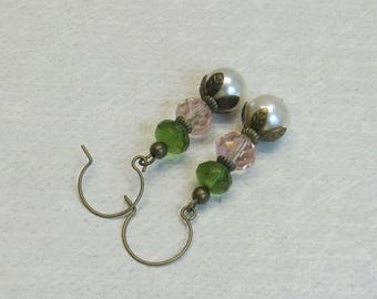 AUGUST SALE Pink green and pearl earrings holiday gift ideas for her