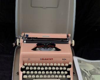 Refurbished 1957 Pink Royal PORTABLE Quiet Deluxe Typewriter W/ WARRANTY