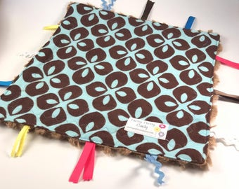 Brown Graphic Flannel Minky Lovey Ribbon Blanket