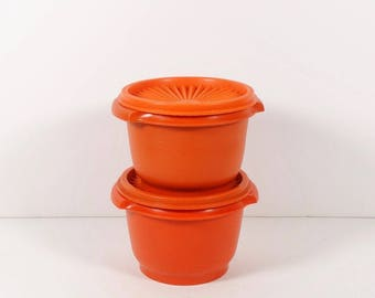 Set of 2 Tupperware Containers, Vintage Harvest Burnt Orange Servalier Tupperware 886-12