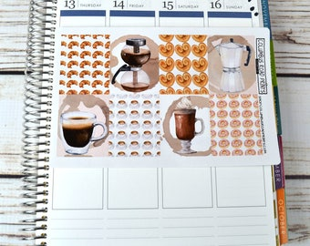 Full Box coffee planner stickers, coffee and sweets, watercolor art, full box art stickers, coffee, croissant, donut, sweet