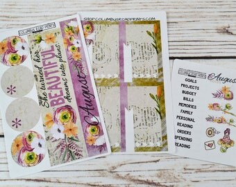 2017-18 August NOTES PAGE Kit, fits 2017-18 Erin Condren Life Planner, Vertical, Horizontal, Hourly Spiral bound, August planner stickers