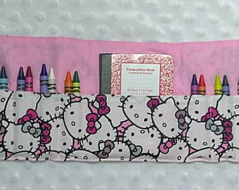 Crayon Roll in Hello Kitty Faces with Mini Notebook and 24 Crayola Crayons, Birthday Gift, Crayon Holder, Crayon Wallet, Crayon Organizer