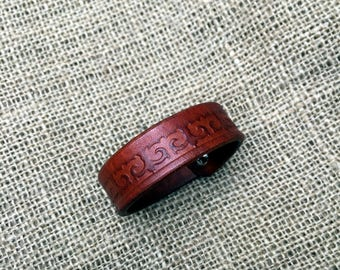 Brown Handmade leather bracelet with Kazakhsha pattern