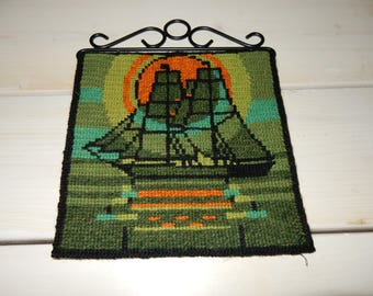 Swedish hand embroidered wall hanging 1960  s  /  a boat
