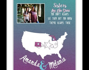 Birthday gift for sister, long distance sister gift, custom going away gift, sister quote print, sisters forever print, custom map art