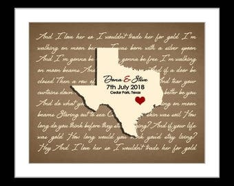 Wedding song lyrics art, first dance song print, wedding gift personalized, groom gift, anniversary gift, bride gift, ANY state, texas map