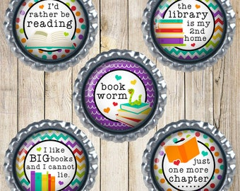 Book lover magnets - Earth magnets - Book worm - I like big books and I cannot lie - Librarian gift - School gift - Love to read - Book club