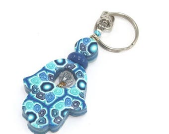 CIJ SALE Polymer clay Hamsa keychain, Accessories, handmade keychain,Good fortune Hamsa in blue, turquoise and  white