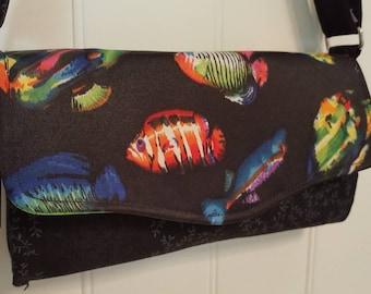 Colorful fish crossbody shoulder clutch purse
