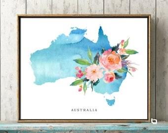 Australia Wall Art, Australia Watercolor Map, Australia Map Print, Australia Map Poster, Australia Flower Watercolor Map, Wall Decor