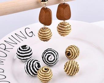 10 Pieces, Handmade DIY Material, Rafi Grass Beads, Grass Cluster, Beaded Ball, Earrings Beads, Rope Headdress Accessories, Headpiece Ball