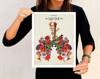 """Anatomical Floral Lungs - """"Breathe"""", 11"""" x 14"""",Human Anatomy Medical print, Pulmonologist Gift, Nurse Graduation gift, Colorful Floral Lungs"""