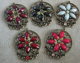 Chandelier Earring Findings Faceted Cabachons Rhinestone Red Black White Dark Pink Wine/Burgandy  Flower Design One to Five  Connectors