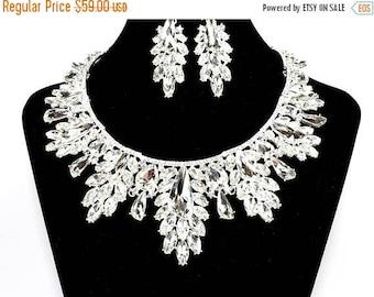 SALE SALE SALE Sale Bridal Statement Necklace, Crystal Bridal Necklace Set, Crystal Wedding Necklace, Crystal Evening Necklace ~ E 137