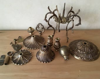 Lot #12 Brass Colored Assemblage Steampunk Industrial Found Object Altered Art, 16+ Pcs. Lamp Parts, Knob, Spider Legs