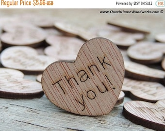 """Summer SALE 100 Thank you! 1"""" Wood Hearts, Wood Confetti Engraved Love Hearts- Rustic Wedding Decor- Table Decorations- Small Wooden Heart"""
