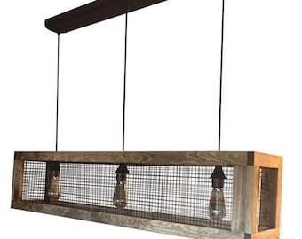 SUMMER SAVINGS Rustic Lighting - Rustic Chandelier - Rustic Wood Light - Rustic Light - Wood Chandelier - Farmhouse Light -Dining Room Light