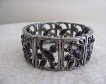 Vintage Cuff Chunky Bracelet with Black Rhinestones