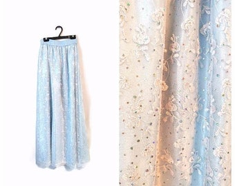 ON SALE Vintage Lace Skirt Light Blue sparkly sequins size Small