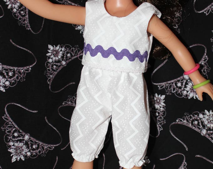 Ready for Summer White/ Purple Ribbon Top and White Bloomer Pants, Handmade to fit the wellie wisher and Heart to Heart doll Free Shipping