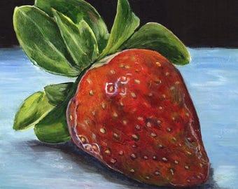 SALE Strawberry Red Fruit Kitchen Art SFA  - Original hand painted acrylic still life painting by Australian Artist Janet M Graham