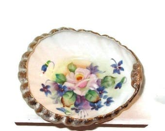 Summer Sale Vintage 1950s Beautiful Porcelain Candy Dish, Purple Violets and Pink Rose with Gilded Edge