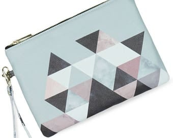 """Clutch Bag/Leather Clutch Bag/ Grey Clutch Bag/ Bridesmaid clutch & gift """"Graphic 202"""" Limited edition printed clutch bag with design"""