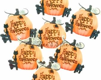 2 pc set-Halloween Pumpkin planar resin- Jack O Lantern Hair bow center - Cabochon Flatback resin-Trick or Treat