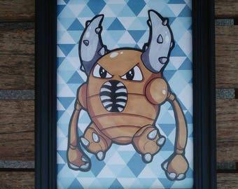 Pinsir Pokemon Framed Original Artwork : Child's Room Decor