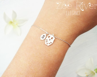Choose rose gold, silver or gold dainty personalized owl bracelet. Elegant personalized owl initial bracelet