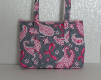 Pink Ribbon Grey Pink Paisley Quilted Purse Quilted Handbag