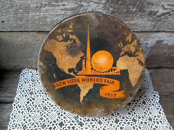 Worlds Fair 1939 large tin advertising tin new york tin advertising box collectors tin metal tin gifts for men souvenir tin memorabilia tin