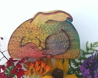 Rainbow, Gold Sleeping Dragon, Wooden Dragon, Waldorf Wooden toy, Waldorf inspired dragon