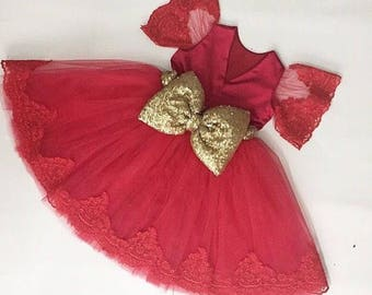 Custom red lace baby dress