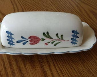 "Nikko Provincial Design ""Avondale"" Pattern Butter Dish with Cover. Vintage dinnerware."