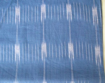 Sky Blue and White Yarn Dyed Close Knit Cotton Ikat Fabric Sold by Yard