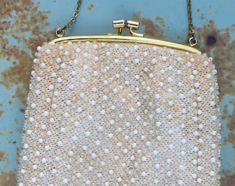 Vintage 1960's white plastic beaded metal chain clutch purse.mod hippie boho