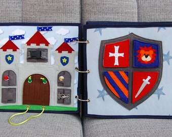 PATTERN & TUTORIAL 2 Quiet book pages Knightbook - Castle and Shield puzzle