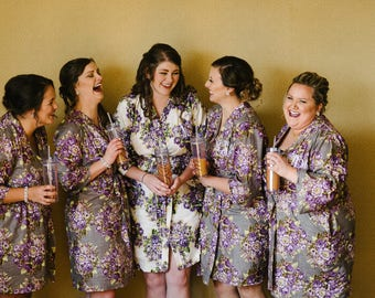 Gray Floral kimono crossover robe, Bridesmaids, maid of honor, spa robe, beach cover up, dressing up robe, bridal, shower, Grape
