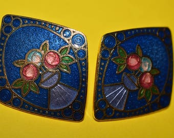Vintage Rhombus Dark Blue Enamel Cloisonne Earrings Art Deco Flower 1980s