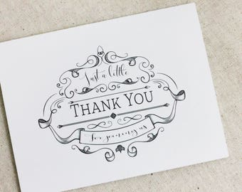 Wedding Thank You Card set of 5,  Blank Thank You Notes, Simple Thank you cards, Note Cards, Elegant thank you cards, vintage stationary set