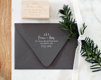 Rustic Address Stamp – Christmas Card Stamp – Return Address Stamp