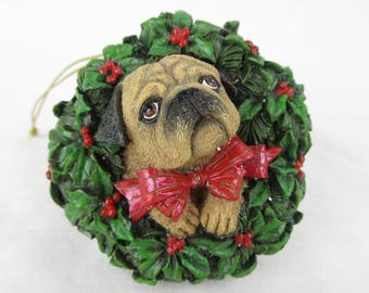 Vintage Pug Puppy Christmas Tree Ornament / Holly Wreath / Gift for Dog or Pug Lover, Owner / Danbury Mint Pugs and Kisses