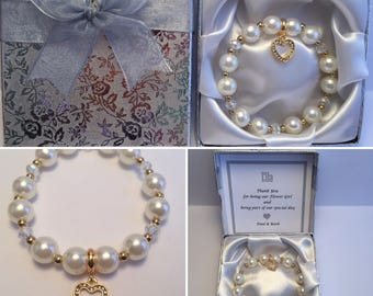 Pearl bracelet with Gold Plated Dangle Heart Charm in a personalised gift box Bridesmaid, Flower girl, Maid of Honour, Wedding, Christening